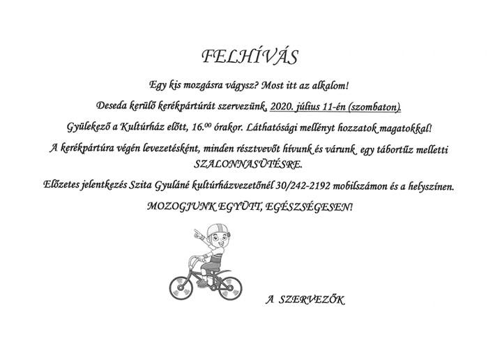 Felhívás kerékpártúrára
